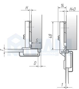 Установочные размеры для накладной (90/105) петли HARMONY, PULSE для стеклянных дверей