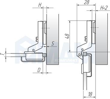 Установочные размеры для вкладной (90/105) петли HARMONY, PULSE для стеклянных дверей