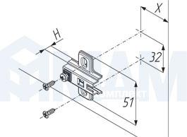 Установочные размеры для площадок HARMONY, PULSE под саморез