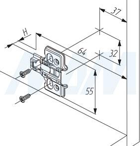 Установочные размеры для усиленной установочной площадки HARMONY под саморезы, 4 отверстия  (артикул 545A01M50)