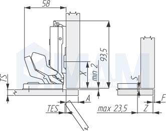 Установочные размеры для накладной петли (90/125) TIOMOS MIRRO, GRASS для стекла под клей
