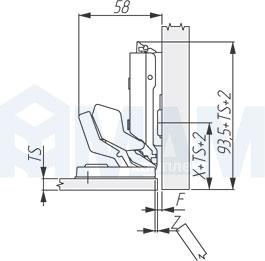 Установочные размеры для вкладной петли (90/125) TIOMOS MIRRO, GRASS для стекла под клей