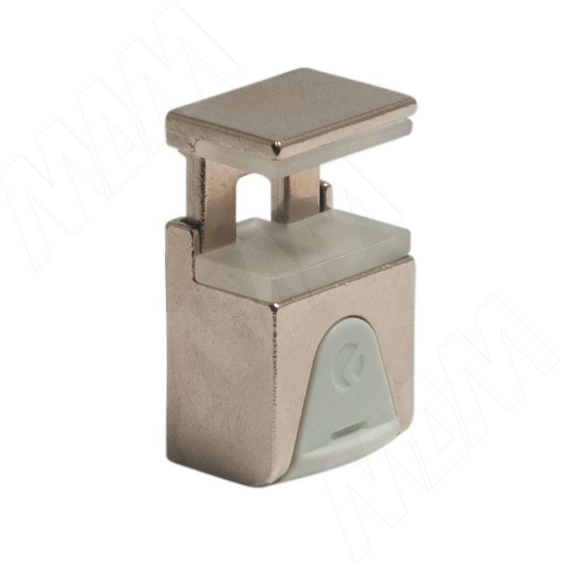 KUBIC Полкодержатель для стеклянных полок толщиной 4-9 мм, под саморез, никель (1 60200 50 YA) полкодержатель для деревянных полок с фиксацией с двумя отверстиями под саморез никель al02 maxi sq