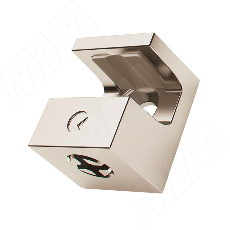 KRISTAL Полкодержатель для стеклянных полок толщиной 8 мм, под саморез, никель (1 61140 10 YA) полкодержатель для деревянных полок с фиксацией с двумя отверстиями под саморез никель al02 maxi sq