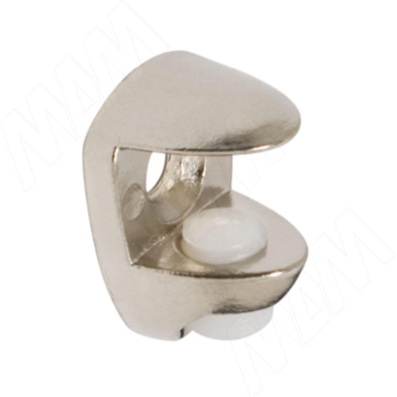 Полкодержатель для стеклянных полок толщиной 8-10 мм, под саморез, никель (FA11 NI) полкодержатель для деревянных полок с фиксацией с двумя отверстиями под саморез никель al02 maxi sq