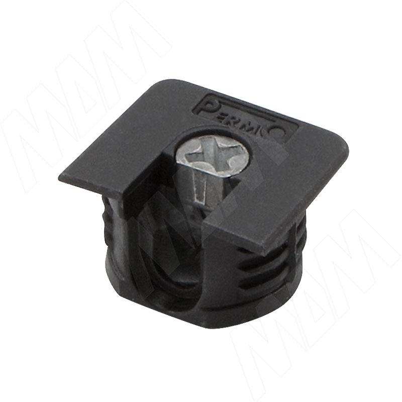 Эксцентрик усиленный в квадратном пластиковом корпусе 16 мм, с бортиком, черный (SE64PNE)