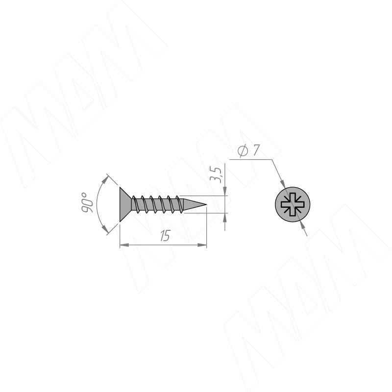 Саморез с потайной головкой под крест 3.5 Х 15 фото товара 2 - 4006 0805/3,5Х15