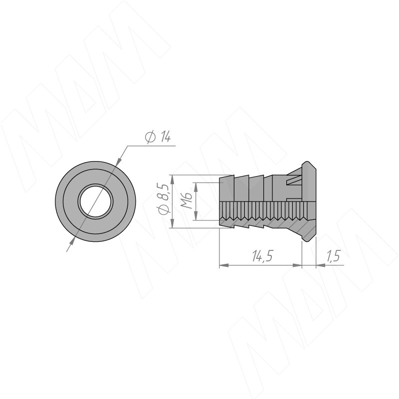 Гайка для ножки мебельной М6 фото товара 2 - BP01/CH