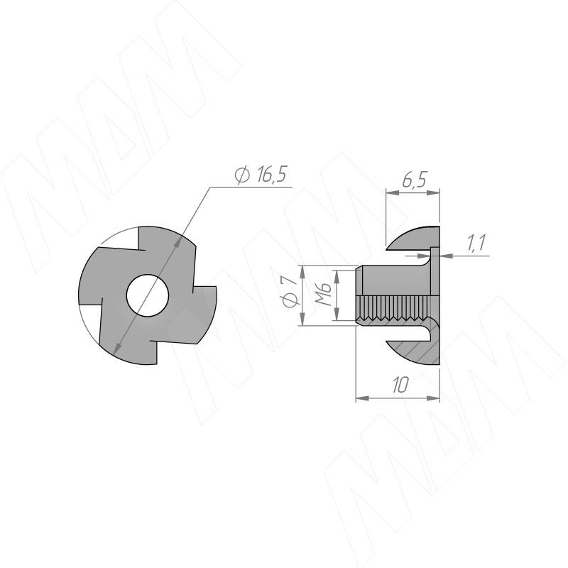 Гайка усовая M6 фото товара 2 - C019