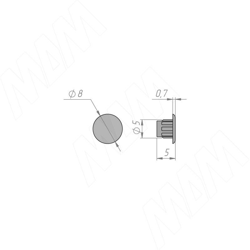 Заглушка для технологических отверстий, графит, D5 мм фото товара 2 - CF01PGR