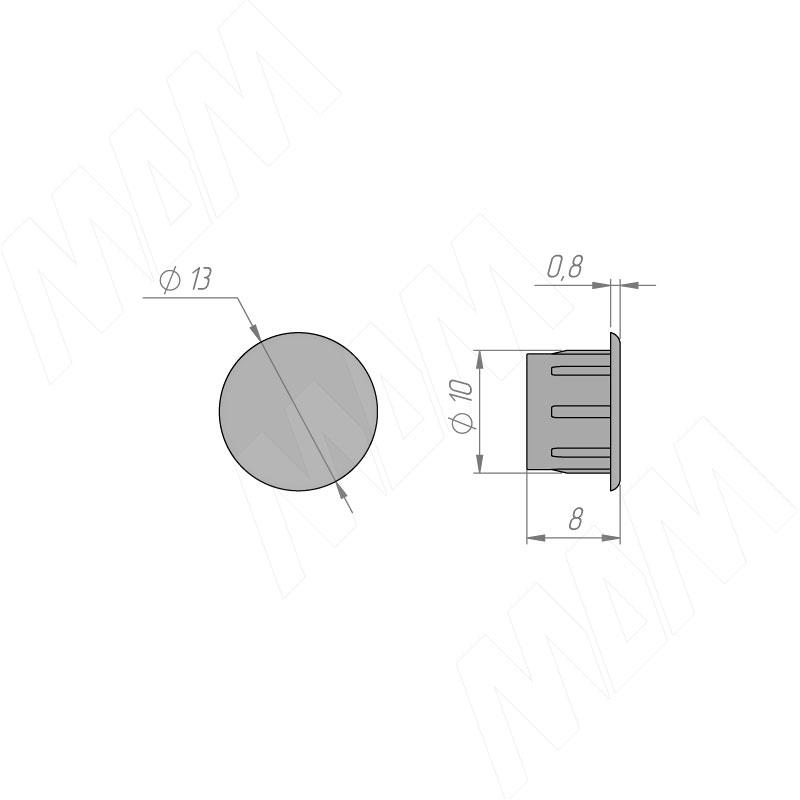Заглушка для технологических отверстий, серый металлик, D10 мм фото товара 2 - CF03PGA