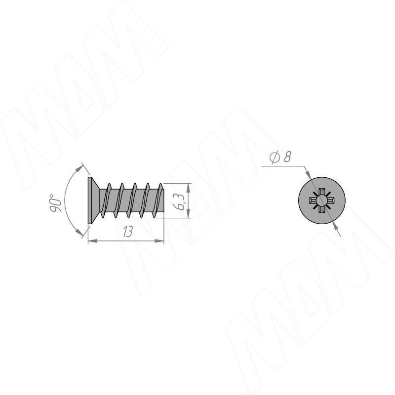 Евровинт с потайной головкой, 6.3 X 13.0 фото товара 2 - ES 6.3X13.0 /ШТ MP