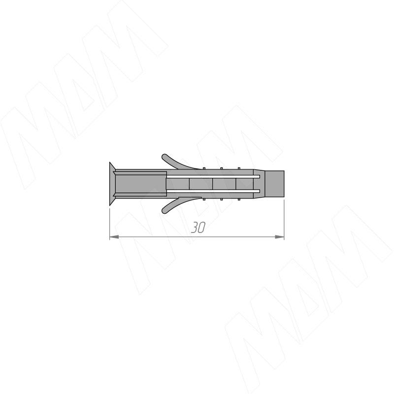 Дюбель 5 х 30 серый, пластик фото товара 2 - PD T53