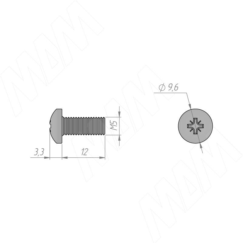 Винт с полукруглой головкой под крест, M5 X 12 фото товара 2 - WPM M5 X12 IB/ШТ
