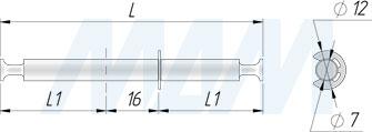 Размеры штока для эксцентрика, двустороннего, со съемным фиксатором, 33 мм (артикул TE41)