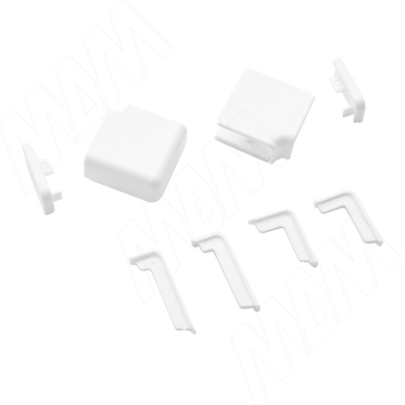 Аксессуары для белого прямоугольного горизонтального плинтуса (09.562.BI) аксессуары для треугольного плинтуса белый 09 565 bi