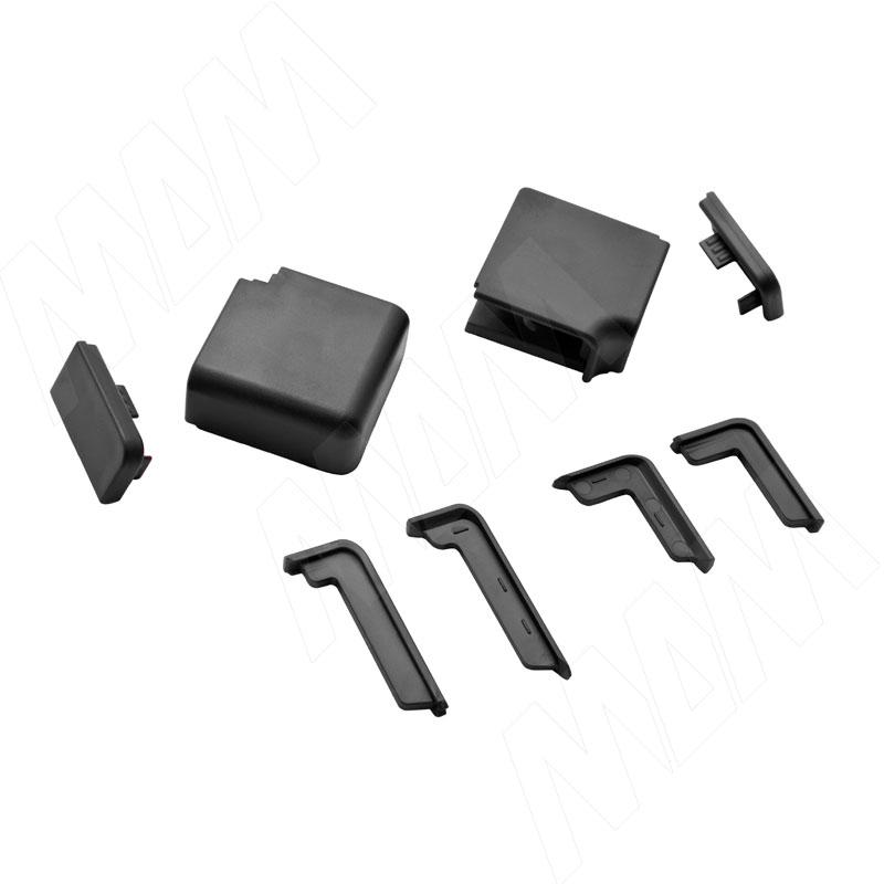 Аксессуары для чёрного прямоугольного горизонтального плинтуса (09.562.NR) аксессуары для треугольного плинтуса 32 01r черный 09 532r nr