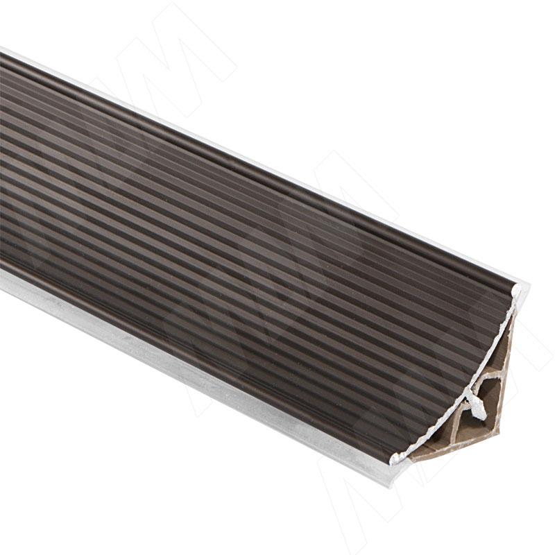Плинтус алюминиевый треугольный вогнутый L=3м, рифленый, бронза (50.300R.BRMR) плинтус алюминиевый треугольный l 4м серебро 65 400al