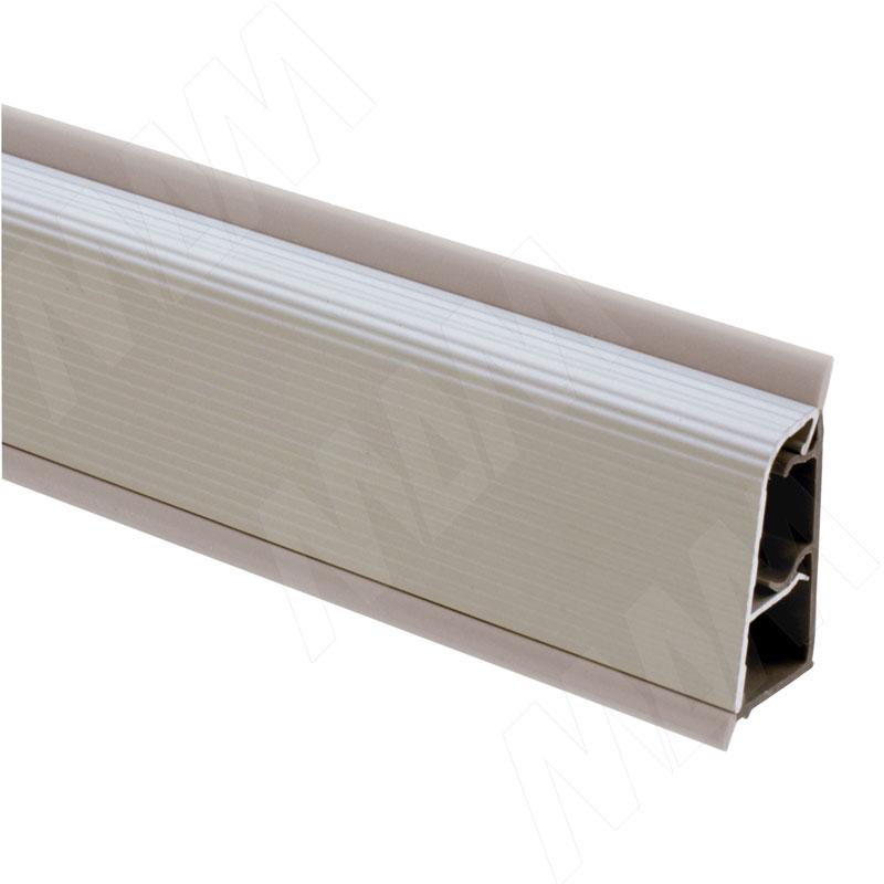 Плинтус алюминиевый овальный L=5м, рифленый серебро (51.500MR)