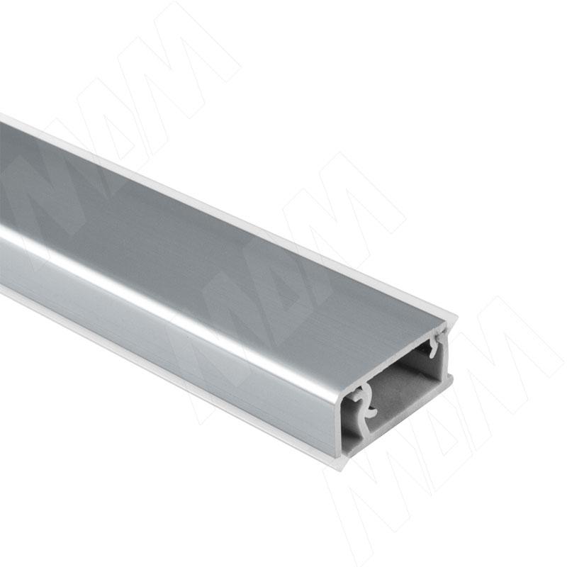 Плинтус алюминиевый прямоугольный универсальный (гориз./верт.) L=4,2м, алюминий глянец (62.0001.TR 4,2M)
