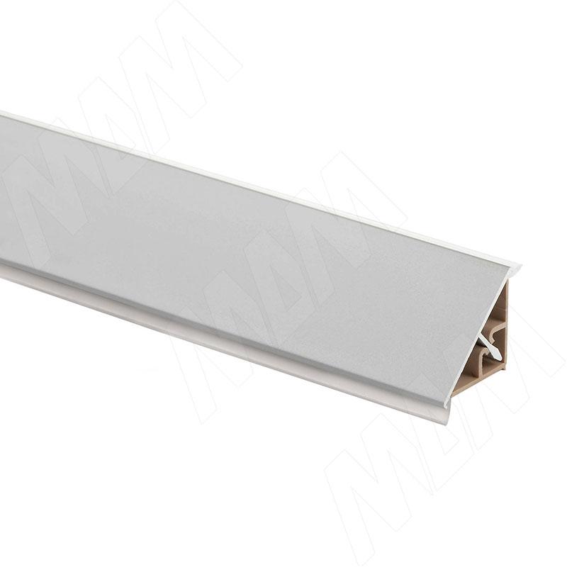Плинтус алюминиевый треугольный L=3м, серебро (67.300R.AL)