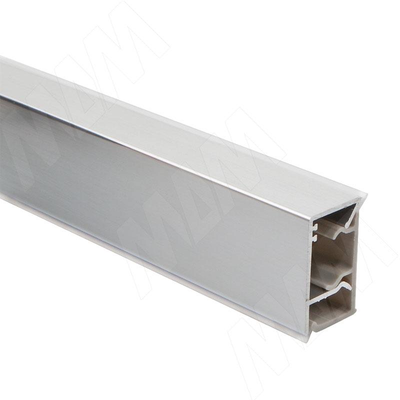 Плинтус алюминиевый прямоугольный вертикальный L=4,2м, алюминий глянец (70.00AL01 4,2M)