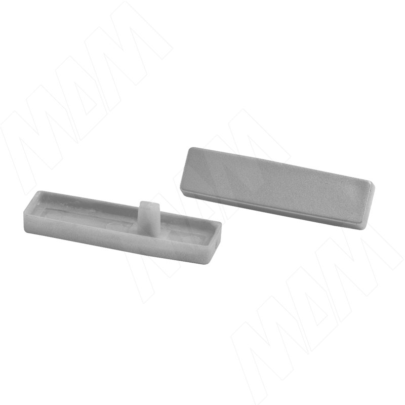 Пластиковые заглушки для узкого рейлинга, 2 шт, цвет алюминий (RCA.AL)