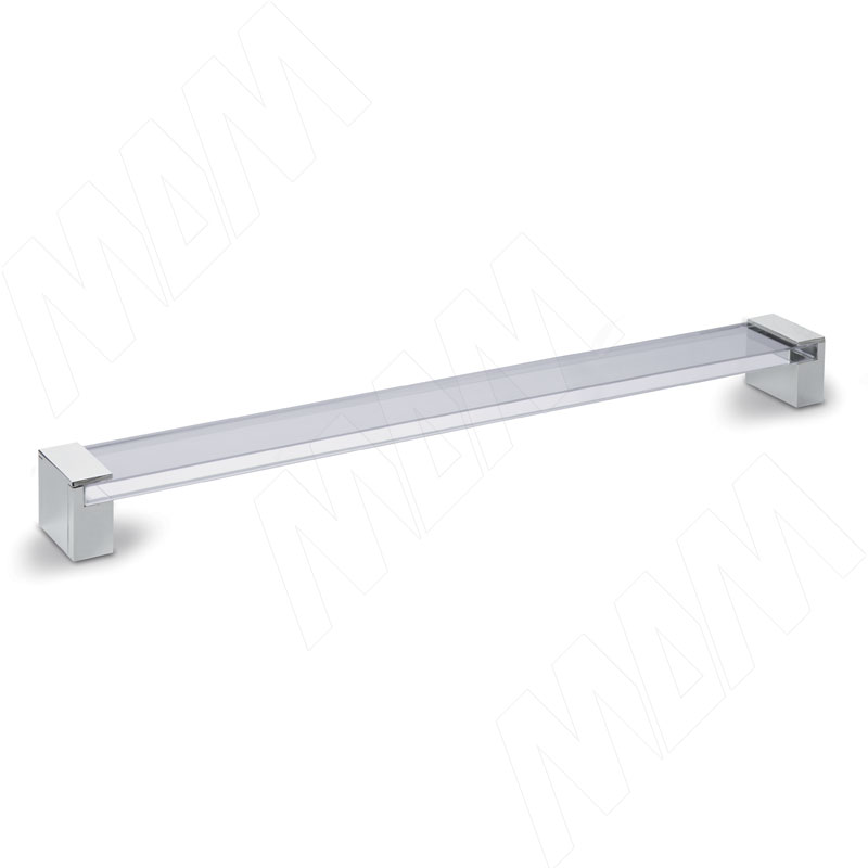 Ручка-скоба 320мм хром/стекло прозрачное (370.320.10)