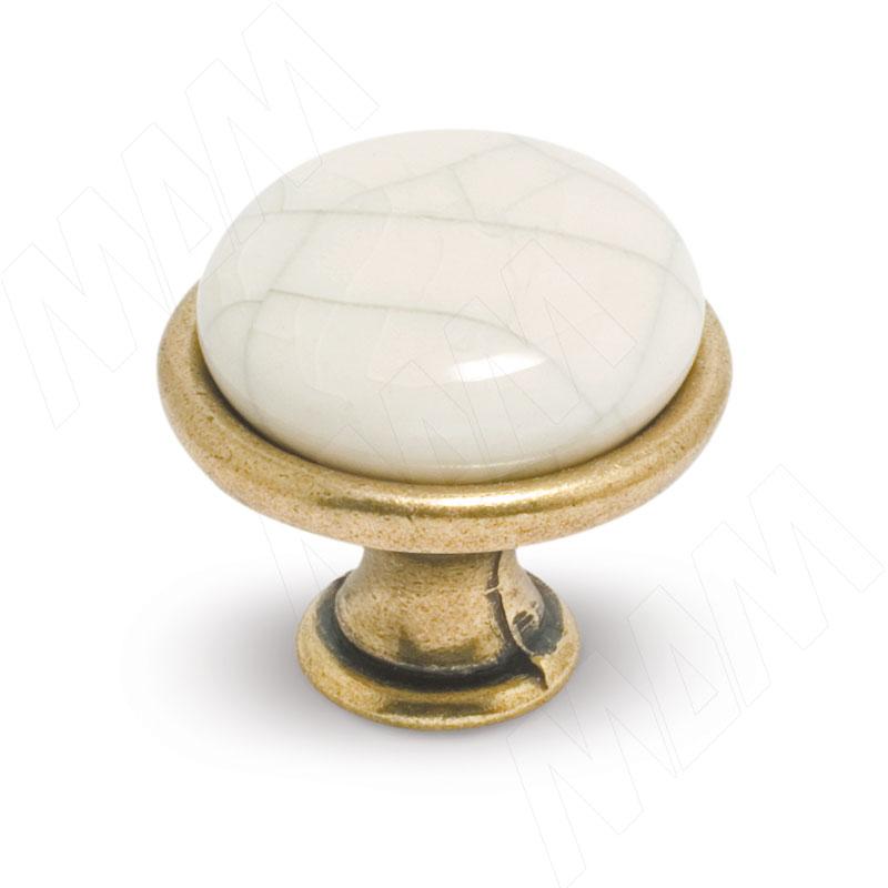 Ручка-кнопка D28мм бронза состаренная/керамика состаренная (GP194AB/MLK)