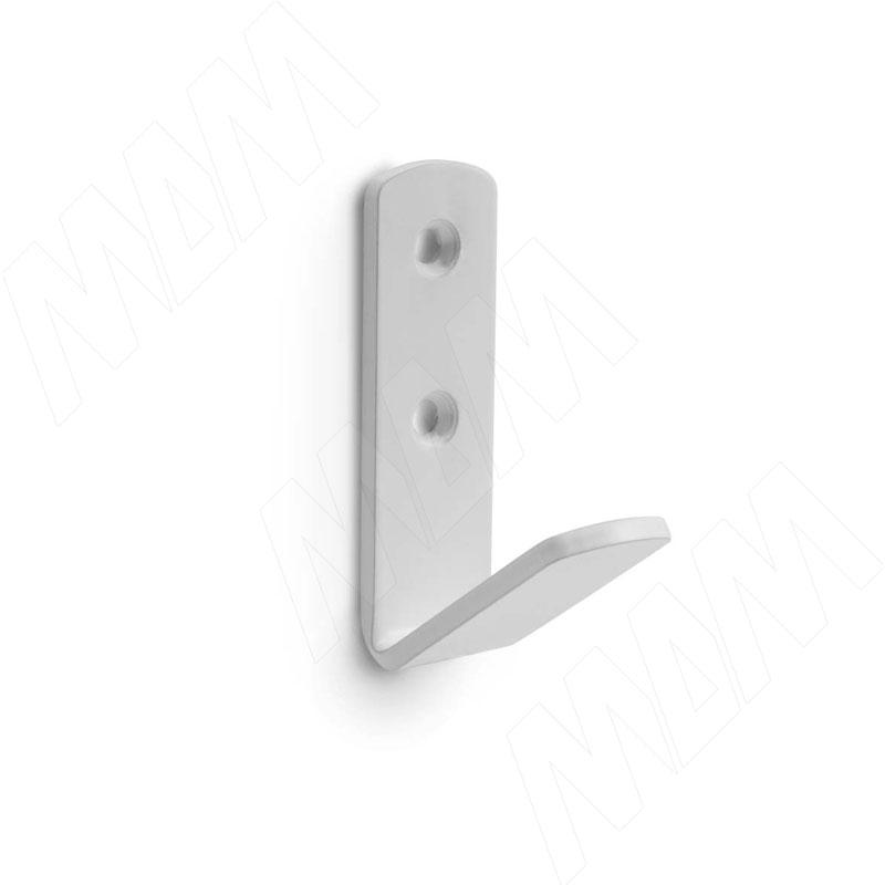 Крючок однорожковый белый матовый фото товара 1 - HK.19.WTM