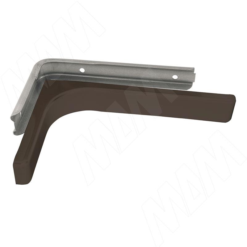 CORNER Менсолодержатель для деревянных полок с декоративной накладкой L-240 мм, коричневый (2 шт.) (KBR240BROWN) baci подвязка белая с декоративной накладкой