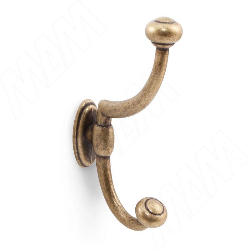 Крючок двухрожковый бронза состаренная (WAP.803.000.00D1) rome крючок двухрожковый медь состаренная wap 802 000 00c1