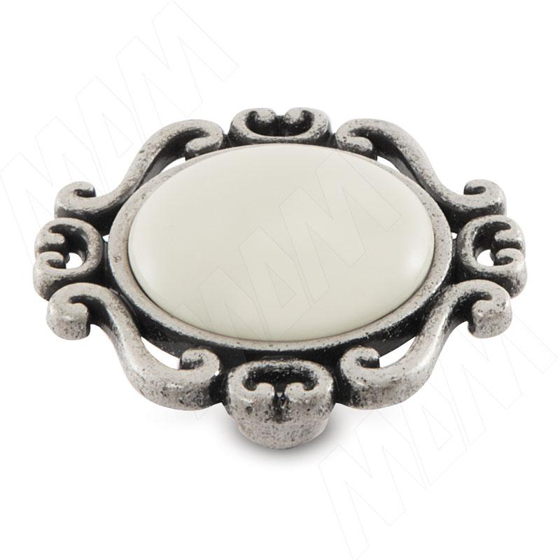 Ручка-кнопка серебро состаренное/керамика молочная (WPO.41.01.00.000.E8)