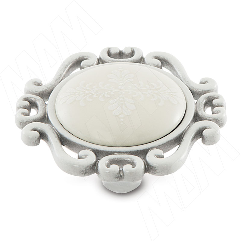 Ручка-кнопка белый/серебро винтаж, керамика белые узоры (WPO.41.01.G4.000.T4) ручка кнопка медь винтаж wpo 762 000 00c5