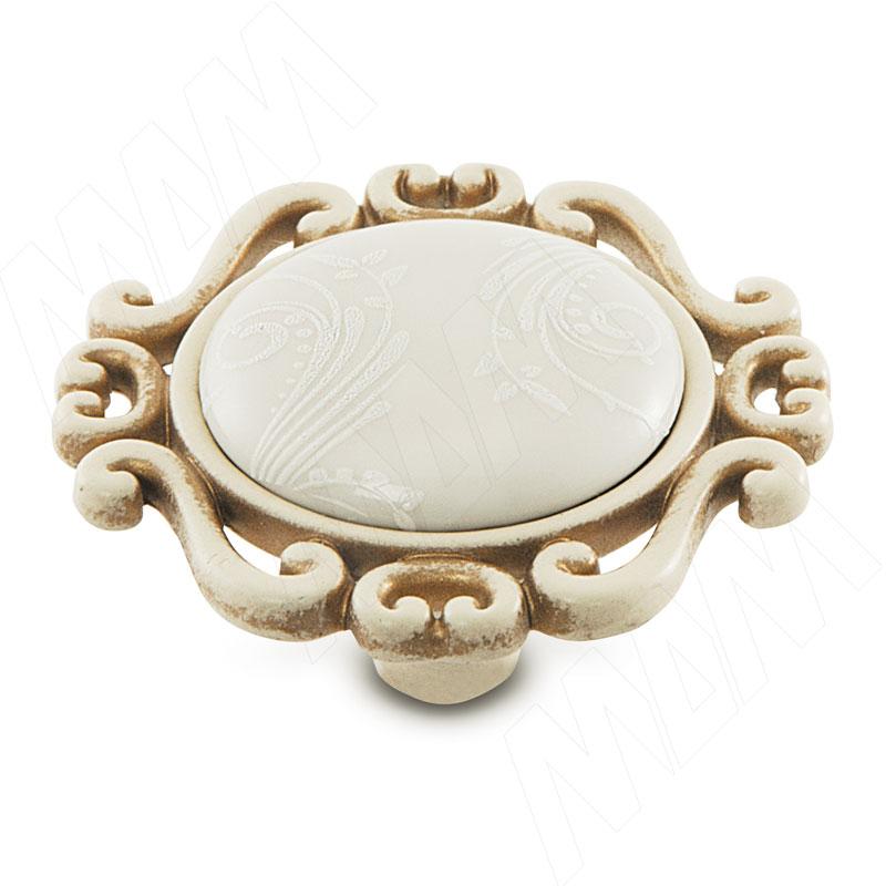 Ручка-кнопка cлоновая кость/золото винтаж, керамика белые узоры (WPO.41.01.G9.000.V5) ручка кнопка cлоновая кость золото винтаж wpo 745 000 00v5