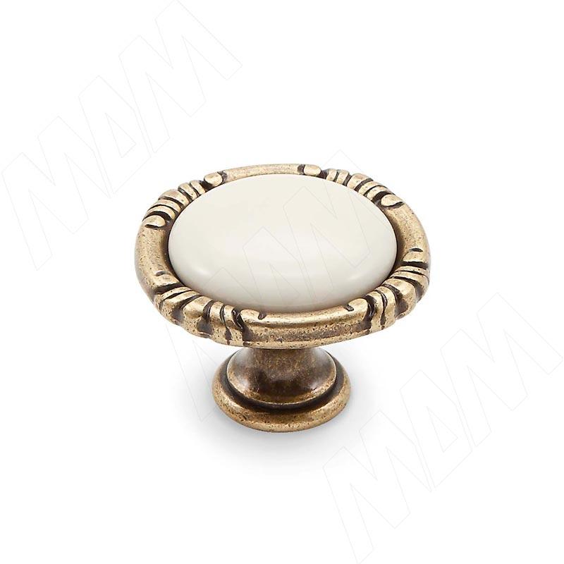 Ручка-кнопка бронза состаренная/керамика молочная (WPO.48.01.00.000.D1)