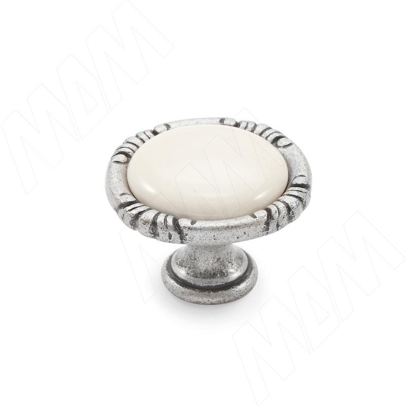Ручка-кнопка серебро состаренное/керамика молочная (WPO.48.01.00.000.E8)