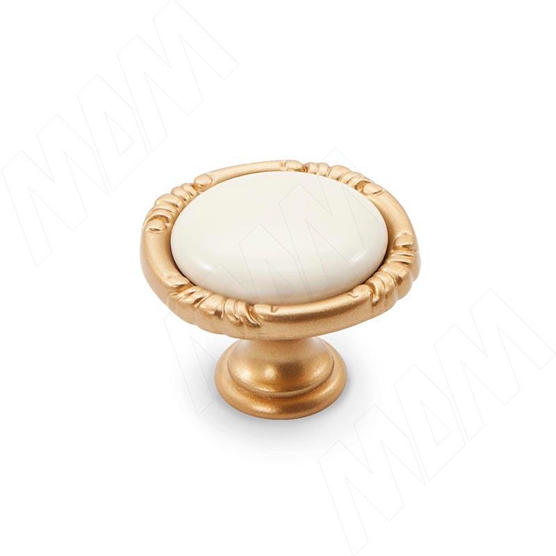 Ручка-кнопка золото матовое Милан/керамика молочная (WPO.48.01.00.000.R8)