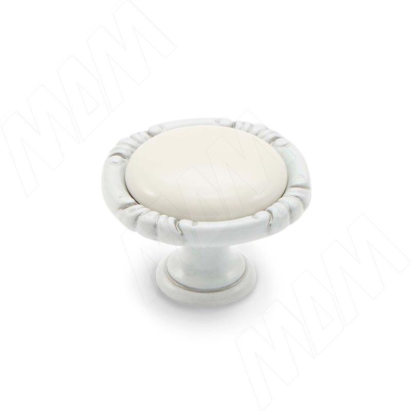 Ручка-кнопка белый/серебро винтаж керамика молочная (WPO.48.01.00.000.V4)