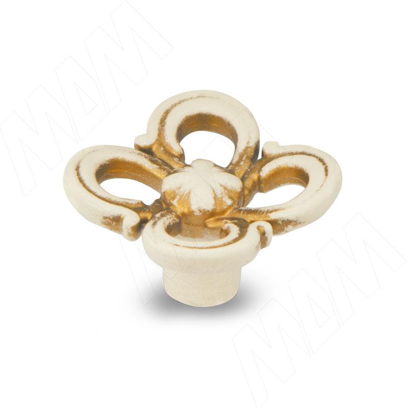 Ручка-кнопка cлоновая кость/золото винтаж (WPO.636.031.00V5) ручка кнопка медь винтаж wpo 762 000 00c5