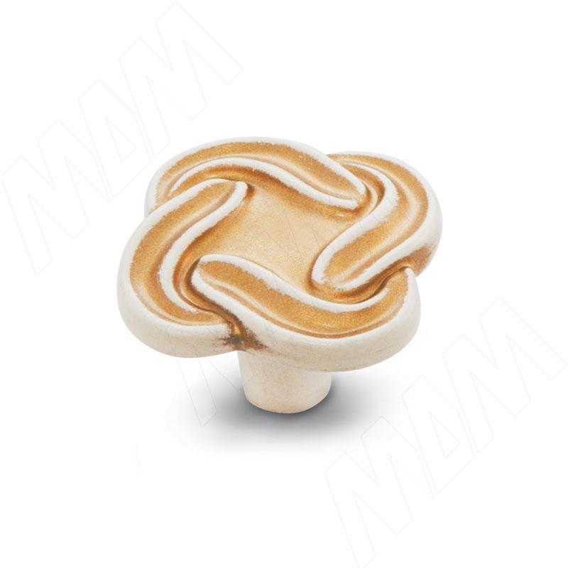 Ручка-кнопка cлоновая кость/золото винтаж (WPO.745.000.00T5) ручка кнопка медь винтаж wpo 762 000 00c5