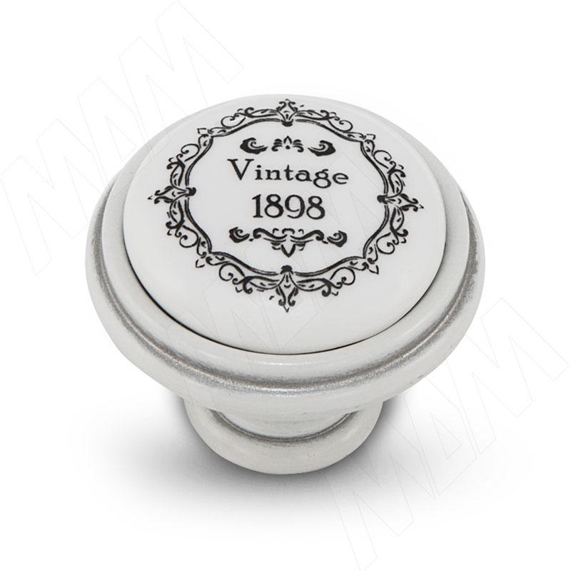 Ручка-кнопка D35мм белый/серебро винтаж керамика Vintage (WPO.77.00.Q3.000.T4) ручка кнопка медь винтаж wpo 762 000 00c5