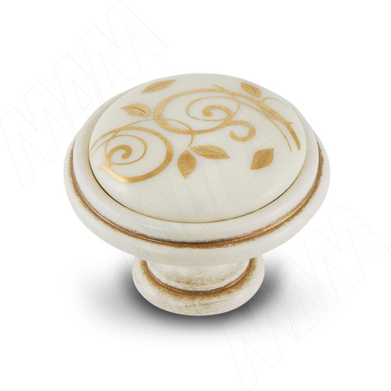 Ручка-кнопка D35мм cлоновая кость/золото винтаж керамика золотые узоры (WPO.77.01.M1.000.V5) ручка кнопка медь винтаж wpo 762 000 00c5
