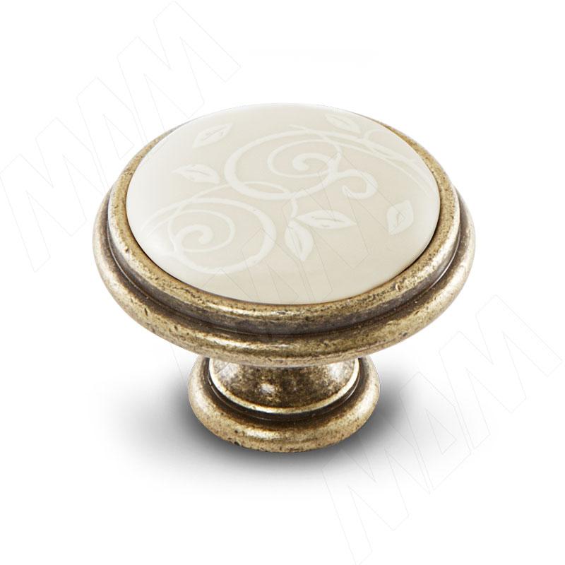 Ручка-кнопка D35мм бронза состаренная/керамика белые узоры (WPO.77.01.M3.000.D1)