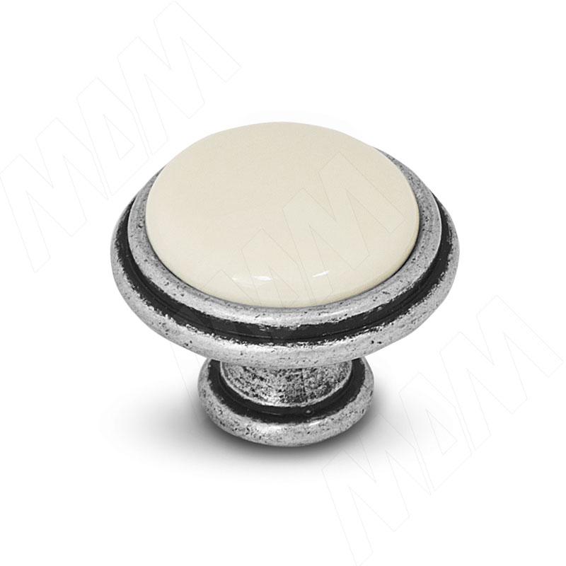 Ручка-кнопка D30мм серебро состаренное/керамика молочная (WPO.771.000.00E8)