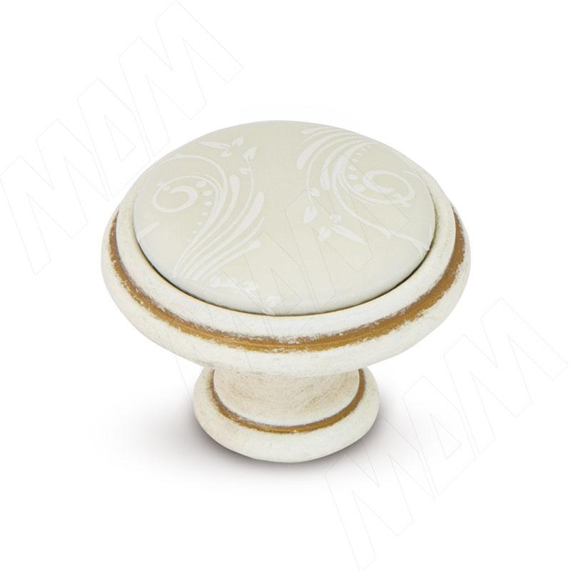 Ручка-кнопка D35мм cлоновая кость/золото винтаж, керамика белые узоры (WPO.781.000.00V5) ручка кнопка cлоновая кость золото винтаж wpo 745 000 00v5