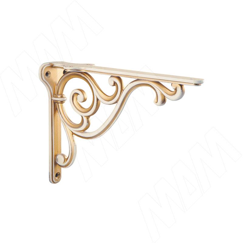 ROME Менсолодержатель для деревянных полок L-150 мм, cлоновая кость/золото винтаж (WRM.800.150.00V5)