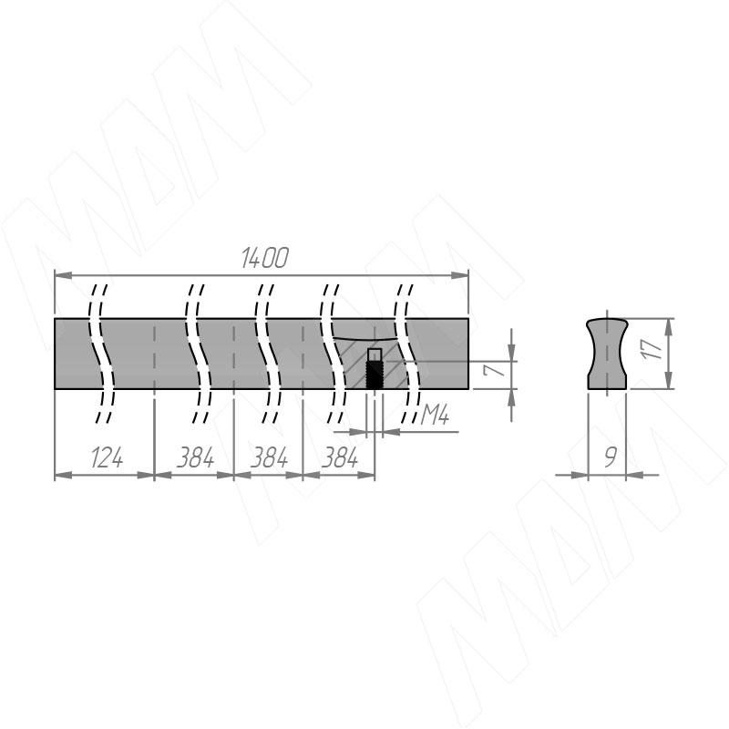 Профиль-ручка L=1400мм черный матовый фото товара 3 - PH.RU16.1400.BL