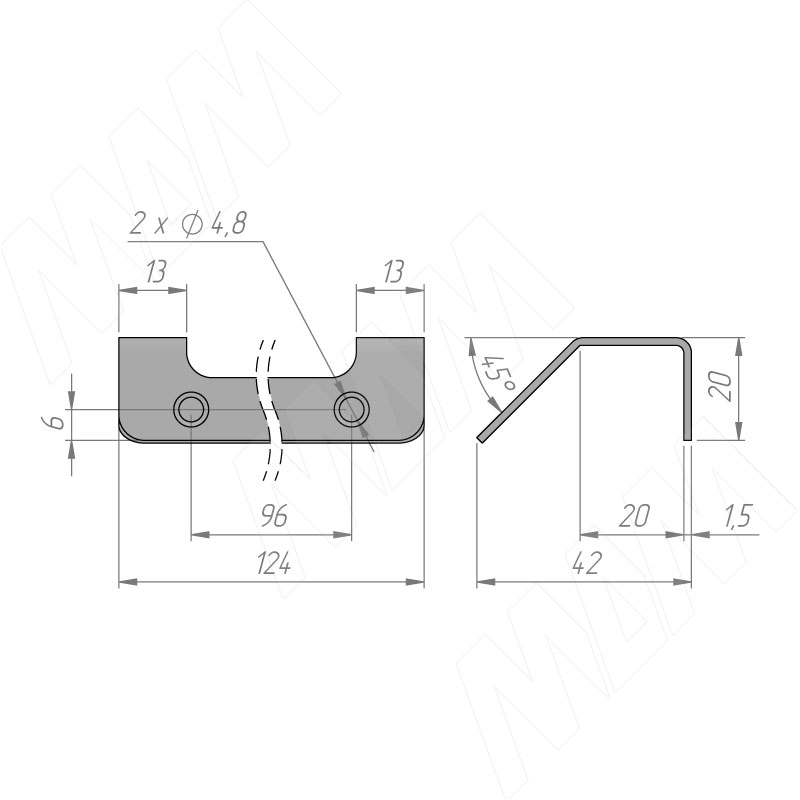 Профиль-ручка 96мм крепление саморезами черный матовый фото товара 2 - PH.RU18.096.BL