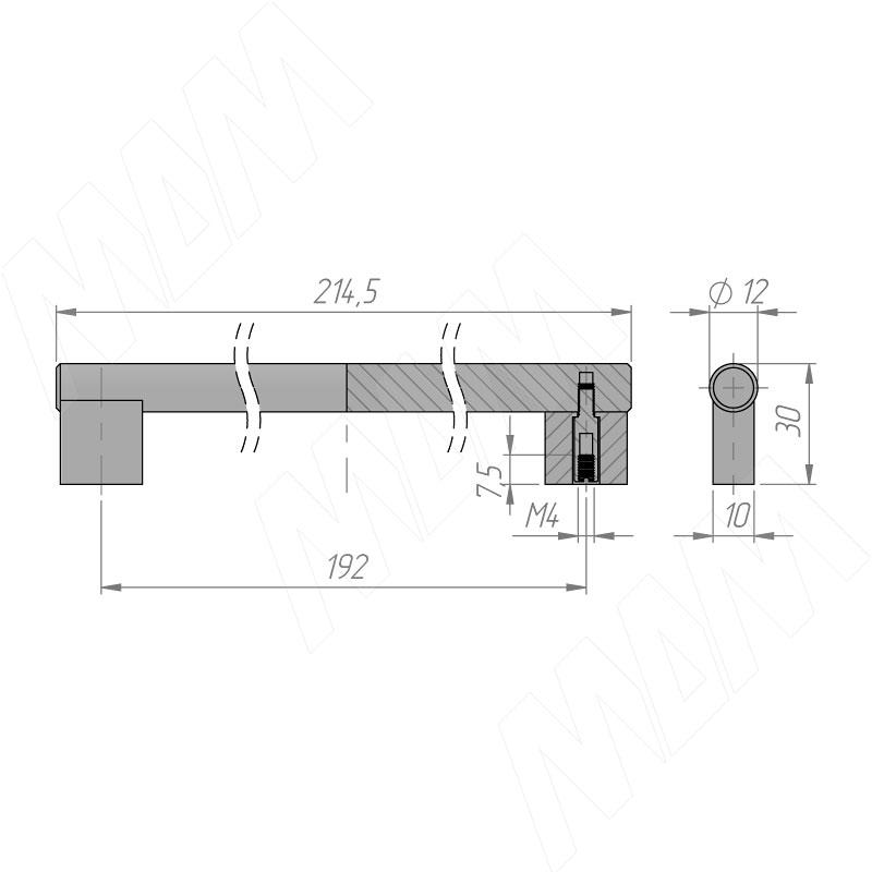 Ручка-рейлинг 192мм черный матовый фото товара 2 - RH.02.192.BLM
